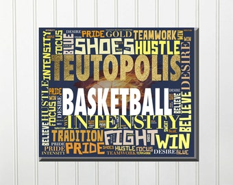 Personalized Sports (Basketball) Word / Text Wall Decor (Metal or Canvas)