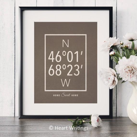 Custom Latitude Longitude Print Custom Wedding Gift GPS