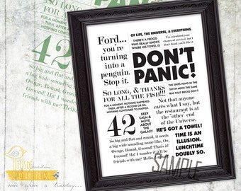 "The Hitchhiker's Guide to the Galaxy! - 8x10"" Custom Print, Movie Quote, Poster"