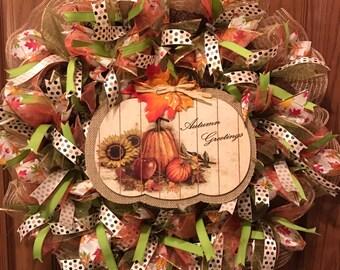 Harvest Wreath, Autumn Wreath, Fall Wreath, Autumn Greetings Wreath