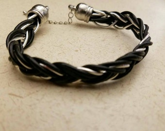 Leather cord and wire braided bracelet