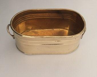 Brass cache pot - oval