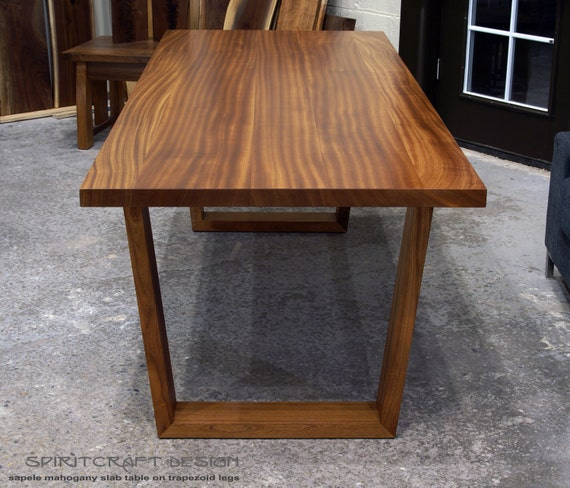 Solid sapele dining room table on mid century modern hardwood for Dining room tables etsy