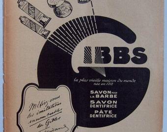 Original Vintage GIBBS 1923 French Magazine Full Page Advert (12'x9 1/2' - 31x24cm)