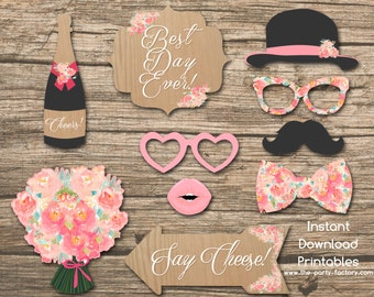 Rustic Floral Wedding Party Photo Booth Props Instant Download Printables