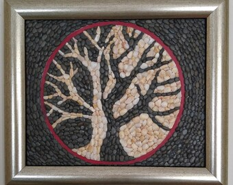 MOSAIC ART with natural stones and pebbles for home decoration. Tree of Life in Yin Yang.