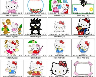 Embroidery Design Hello Kitty - PES Format - 29 Images - 4 x 4 Hoop Size