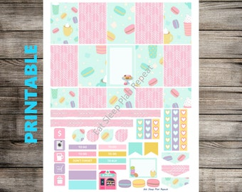 PRINTABLE for Happy Planner - Macaron Theme Weekly Planner Sticker Kit Mambi Happy Planner
