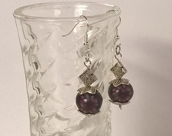 """Earrings """"FlowerBalls"""", fashion jewellery, silver, with round floral flower look"""