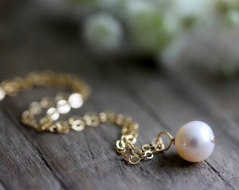 Freshwater Pearl Necklace, Single Pearl, Gold Filled Chain, White Pearl
