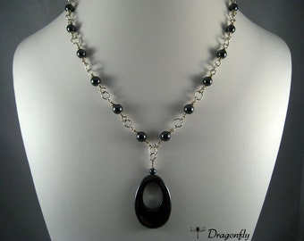 Sterling Silver and Hematite Drop Necklace, Gray and Silver