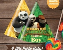 Kung Fu Panda Party Hats, Printable Kung Fu Panda Birthday Party Decoration Instant Download, DIY, Kung Fu Panda Birthday