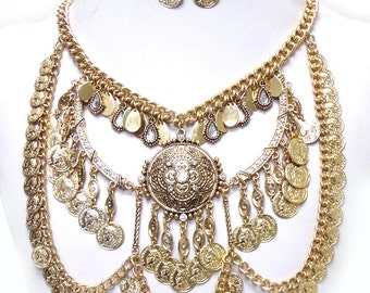 Bohemian style multi metal necklace set