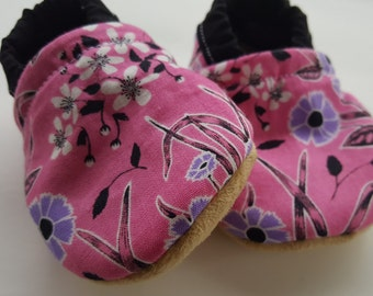 Pink, purple, black, flower, Moccasins, baby crib shoes, soft sole