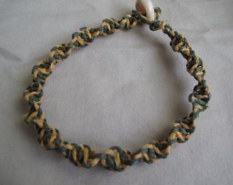 Green and yellow hemp bracelet