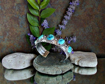 Turquoise Cuff Bracelet Large Man's Sterling Silver with Beautiful Natural Turquoise Nuggets.  Intricately Detailed, One of a Kind, Unique