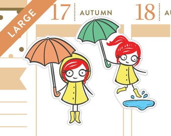 P330 - Rainy day stickers, umbrella stickers, planner stickers, rain stickers, puddles, rainboots, 28 stickers, LARGE size