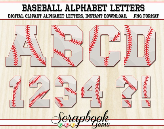 Baseball or Softball Letters & Numbers Clipart 40 High