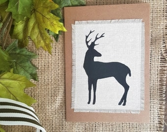 Christmas Cards - Pack of 3 - Black Deer -  Hand-painted cards - fabric cards - Christmas Card Pack - Reindeer Cards - Christmas Card Set