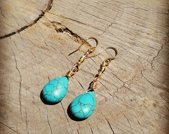 Tear drop turquoise gemstone earrings on gold silver plated wire