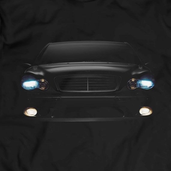Mercedes benz 2004 c class headlights glow t shirt holiday for Mercedes benz glowing star