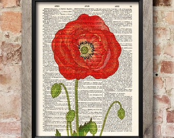 Flower print, Red poppy, Dictionary art print, Botanical print, Flowers art print, Illustration print, Wall Decor, Gift poster [ART 034]