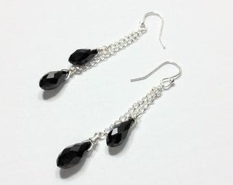 Black Onyx, Black Earrings, Onyx Drop Earrings