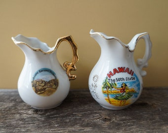 Set of 2 Vintage Hawaii The 50th State & Mt. Rushmore Small Mini Souvenir Pitcher Figurine