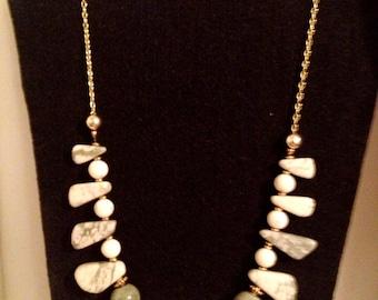 Sea foam marble colored stone necklace