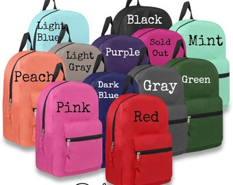 "Monogrammable Backpack, Back-to-School, 11 Colors to Choose From, Kids 15"" Bookbag, School Tote, Embroidered Monogram Name, Polyester"