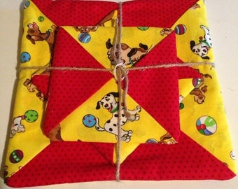 Yellow and red potholder set