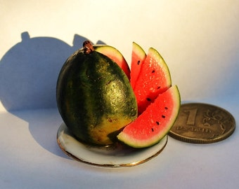 Dollhouse realistic food , miniature food , realistic miniatures ,Miniature 1:12 Watermelon,Incredible Detail