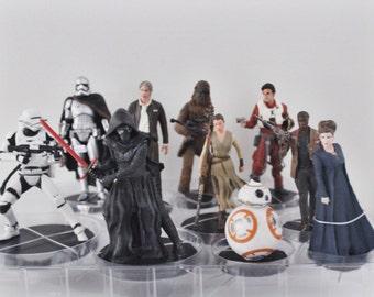 Star Wars Cake Topper Han Solo General Leia Organa Poe Dameron Chewbacca Flametrooper Captain Phasma Kylo Ren Rey Finn BB-8 Figure Wedding