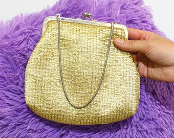 Vintage 80s' Gold Clasp Purse with Chain