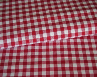 Gingham red white fabric checkered 10 mm