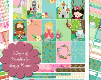 Camelot - XL Printable Sticker Kit - 175 Stickers for MAMBI Happy Planner - Instant Download- 3 Pages, Merlin, Lancelot