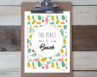 """Table block note photo tropical print """"the place to beach"""""""