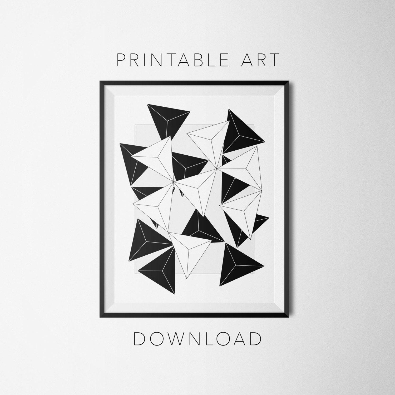 printable art   abstract minimal geometric asymmetrical black