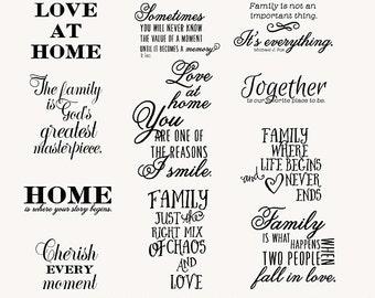 Family Wordart- 12 Wordart- Brush- Digital Stamp
