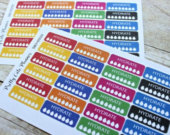 Daily Hydration Planner Stickers / Reminder Stickers / Planner Stickers / ECLP Stickers  /  Happy Planner / 8 glasses a day / Water intake