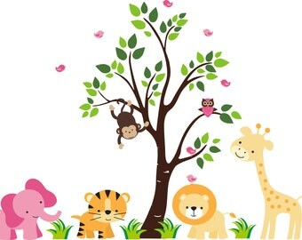 "Kids Nursery Wall Decals - Safari Animal Themed - Jungle Wall Stickers - Adhesive Wall Decals Nursery - Orange and Pink Decals - 60"" x 78"""