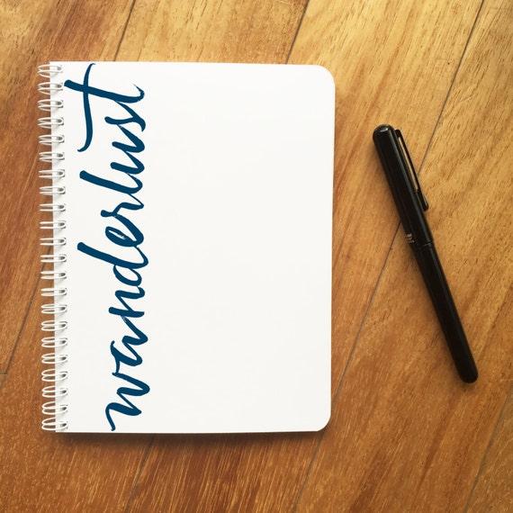 Wanderlust travel journal brush calligraphy modern