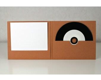 CD wallet / DVD 1 slot CD recycled Brown kraft cardboard / 1 slot booklet / pack of 25