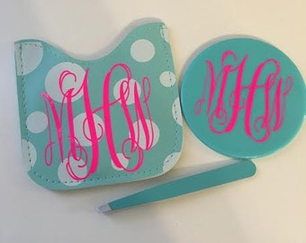 Monogrammed Mirror/Tweezer Set in Pouch