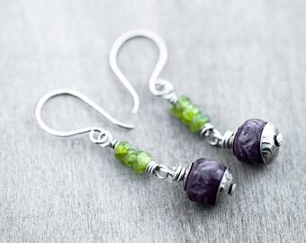 Handmade eggplant porcelain beads-vessonite rondelles-sterling silver earwires