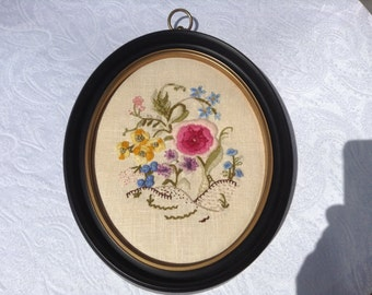 Crewel Embroidered Framed Picture