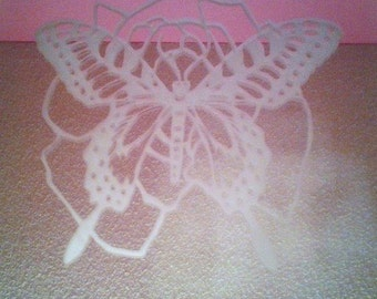 Butterfly Rose etched mirror