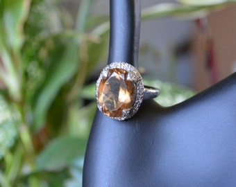 Brown Smoky Quartz Sterling Silver 925 Detailed Ring - Size 8