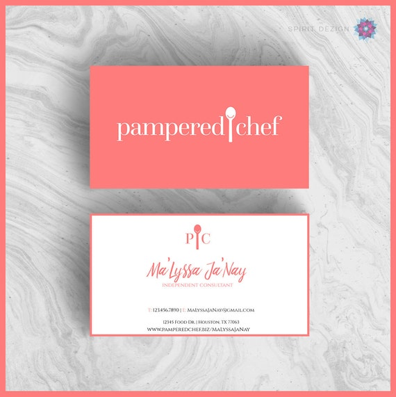 Pampered Chef Coral business card design by SpiritDezignGraphics