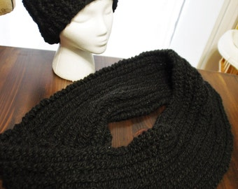 Black wool hat and infinity scarf